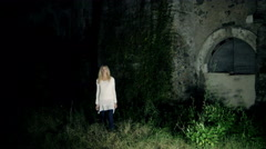 apparition of the ghost a damned blonde girl - stock footage