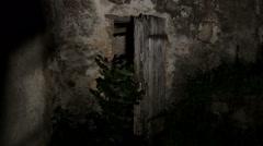 Blonde woman victim of a rape walks in an abandoned farm lifeless Stock Footage