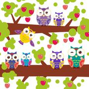 seamless pattern bright colorful owls on the branch of a tree with red apples on - stock illustration