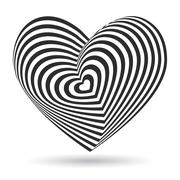 black heart on white background. Optical illusion of 3D three-dimensional volume - stock illustration