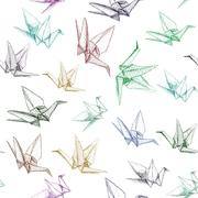 Japanese Origami paper cranes symbol of happiness, luck and longevity, sketch Stock Illustration