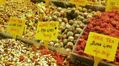 Detail of  different varieties of tea showed in a greengrocery in Istambul Stock Footage