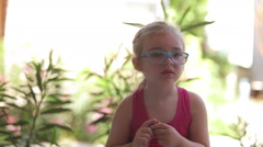 The little girl was crying. Boy it regrets Stock Footage