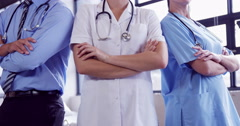 Medical team with arm crossed Stock Footage