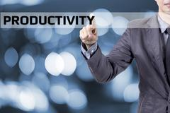 Business man touch on screen concept productivity Stock Photos