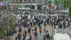Shibuya Crossing Tokyo Japan Asia People Crowd Commuters Pedestrians Street Stock Footage