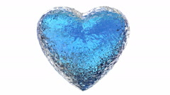 3D animation of the blue ice heart melting, comes with alpha mask Stock Footage