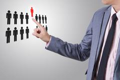 Businessman select person career to work job business concept. Stock Photos