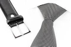 black and white spotted tie and lea - stock photo