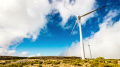 Modern windmills producing eco energy Stock Footage