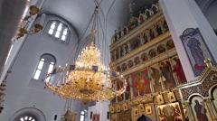 Interior of a beautiful Cathedral with pointed arches Stock Footage