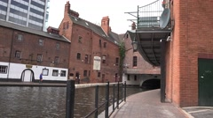4K Beautiful old town Birmingham narrow canal European travel destination emblem Stock Footage