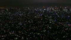 Aerial City View Night Lights Landscape Buildings Tokyo Japan Asia Stock Footage