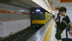 Subway Station Metro Train Commuters People In Tokyo Japan Asia Stock Footage