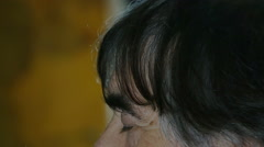 Profile view, detail of man raising his head and looking high with hope Stock Footage