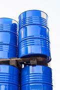 Chemical tanks stored at the storage of waste Stock Photos