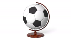 Soccer ball globe rotating, loop Stock Footage