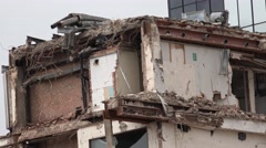 4K Closeup ancient building demolition wall destruction house construction site  Stock Footage