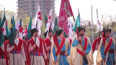 Kuban cossacks marching with flags Stock Footage
