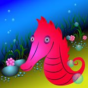 Red seahorse and seaweeds under water - stock illustration