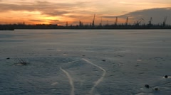 Bad ecology and shore of a frozen river Stock Footage