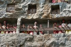 Wooden Statues Of Tau Tau are representatives of the deceased and guard the t Stock Photos