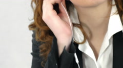 Young woman listen to music in a break from work Stock Footage