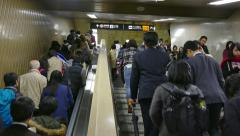 Commuters Asian Japanese People In Subway Underground Station Tokyo Japan - stock footage