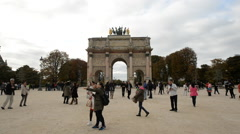 Arc De Triomphe Du Carrelousel - Paris France Stock Footage