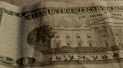 20 dollar bill close sliding shot Stock Footage