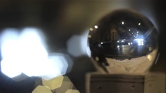 Car traffic at night in winter in a city, seen through a glass bubble  Stock Footage