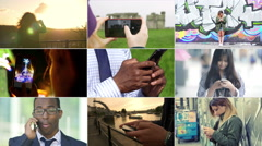 People using smart phone or having a call with a mobile phone Stock Footage