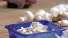 Womens come to picnic clean mushrooms, preparing lunch for your loved ones  Stock Footage