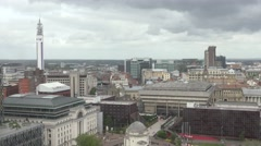 4K Aerial view Birmingham crowded city center architecture building cloudy day  Stock Footage