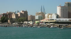 View of Manama City from the sea, Bahrain - stock footage