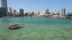 View of Manama City from the sea, Bahrain Stock Footage