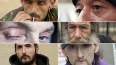 Composition of suffering of different Homeless faces Stock Footage