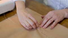 Tailoring .Hands notch tailor tailor's scissors cloth. Stock Footage