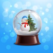 Snow globe with snowman Stock Illustration