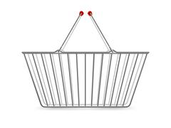 Metallic Shopping Basket Empty Realistic Pictogram - stock illustration