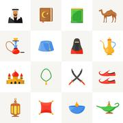 Arabic culture icons set - stock illustration