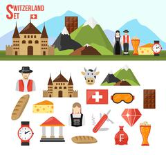 Switzerland symbols set Stock Illustration