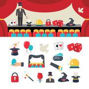 Magician icons set - stock illustration