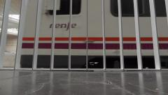 Electric subway train starts moving from underground station  Stock Footage
