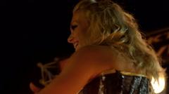 dancer in bustier, tattoed arm, erotic dancing - stock footage
