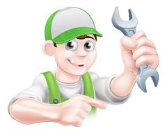 Cartoon Plumber Pointing Stock Illustration