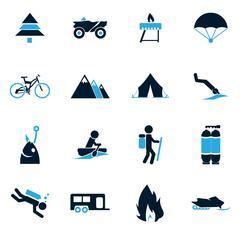 Active recreation icons - stock illustration