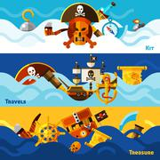 Pirates Horizontal Banners Set - stock illustration