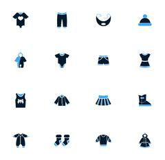 Baby clothes icons set Stock Illustration