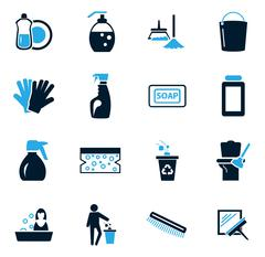 Cleaning company icons set - stock illustration